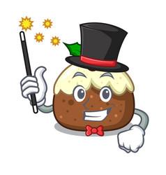 Magician fruit cake mascot cartoon vector