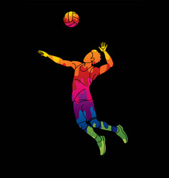 Man volleyball player jumping action cartoon vector