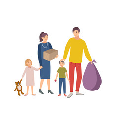 Man woman and children carrying bag and box vector