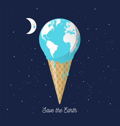 Melting earth icecream cone for global warming vector
