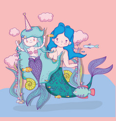 Mermaids woman and man with clouds and fishes vector