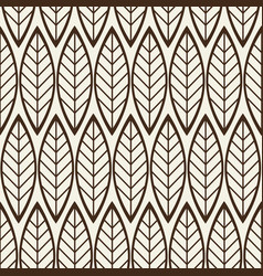 monochrome seamless background with linear leaves vector image