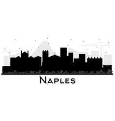 Naples italy city skyline with black buildings vector
