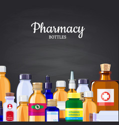 pharmacy medicine bottles background on vector image
