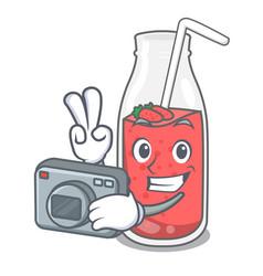 photographer strawberry smoothie mascot cartoon vector image
