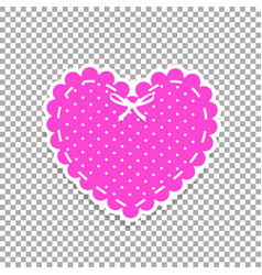 pink and white paper cut lacing heart sticker vector image