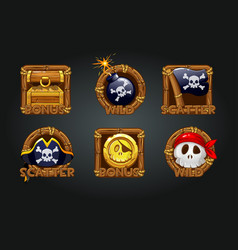 pirate icons in wooden frames for slots vector image