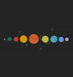 Planets of solar system arranged in horizontal row vector