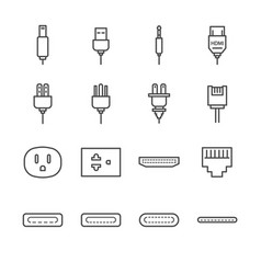 plug and socket line icon set vector image