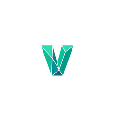 Polygonal trend letter v logotype color vector