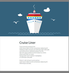Poster with cruise ship vector