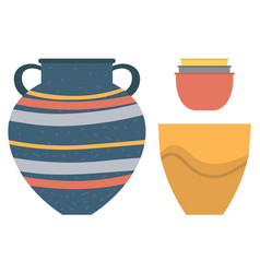Pottery kitchenware vase clay bowls flower pot vector