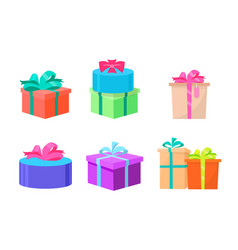 presents decorated with ribbons and bows wrapped vector image