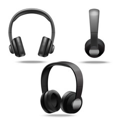 realistic 3d detailed black headphones set vector image