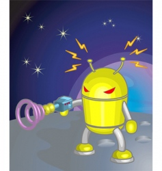 Robot moon illustration vector