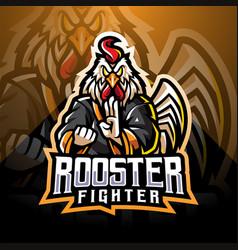 Rooster fighter esport mascot logo vector