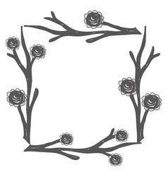 Rustic square branches with flowers vector