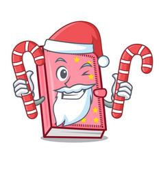 Santa with candy diary mascot cartoon style vector
