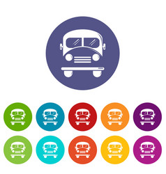 school bus icons set color vector image