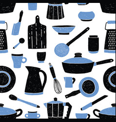 Seamless pattern with black and blue kitchen vector