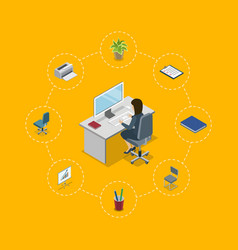 secretary working in office at computer poster vector image