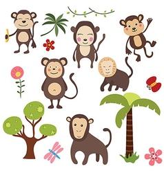 Set funny monkeys vector