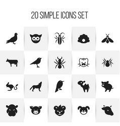 set of 20 editable zoology icons includes symbols vector image