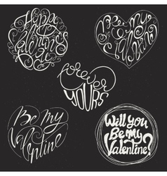 Set of 5 Valentines Day card design vector image