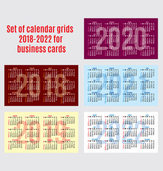 set of calendar grid for years 2018-2022 for vector image