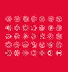 set of christmas white snowflakes vector image
