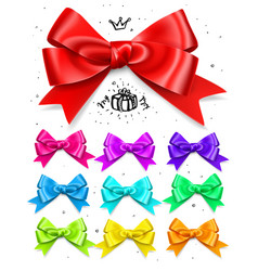 Set of colored gift bows satin isolated glamour vector