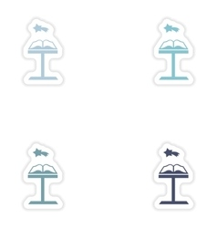 Set of paper stickers on white background Open vector