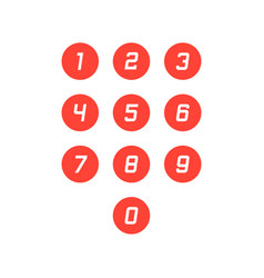 Set of round 0-9 number icons vector