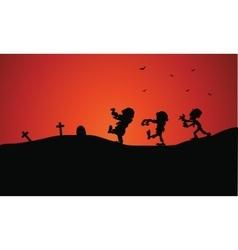 Silhouette of Halloween zombie in tomb vector image vector image
