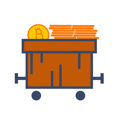 Simple bitcoin train cart graphic vector
