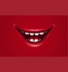 smile with red lips open mouth with teeth and ton vector image