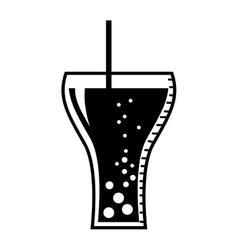 soda glass drink beverage silhouette icon vector image