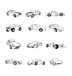 sport old fast cars clipart cartoon collection vector image