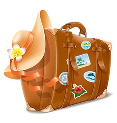 Suitcase and hat vector