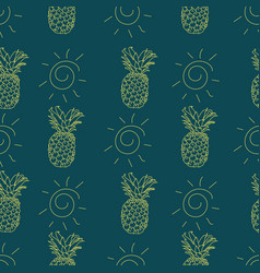 summery seamless pattern background with pineapple vector image