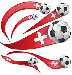 Swiss flag set with soccer ball vector
