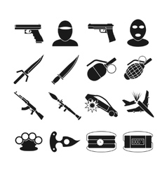 Terrorism icons vector image