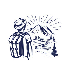 Tourist stands and looks at mountains man vector