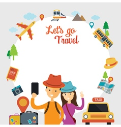 Tourist Traveler Selfie with Smartphone Frame vector