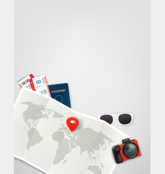 travel with paper map digital camera passport vector image