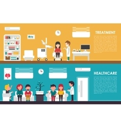 Treatment Healthcare flat hospital interior vector