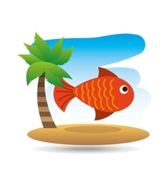 Tropical vacation beach fish icon vector