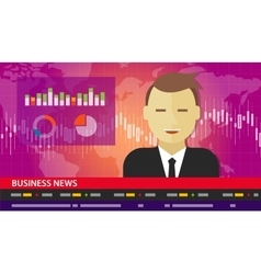 tv anchor news business report diagram chart vector image