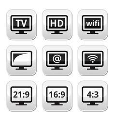TV monitor screen buttons set vector