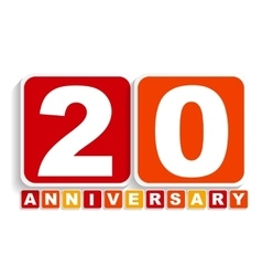 Twenty 20 years anniversary label sign for your vector